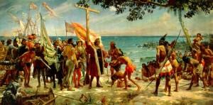 """Imagen de """"los primeros homenajes del nuevo mundo a Colón"""" de José Garnelo y Alda"""