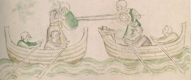 Un raro duelo cortesano. Naves en vez de caballos - Psalterio de la reina María, Inglaterra, c. 1325-1353