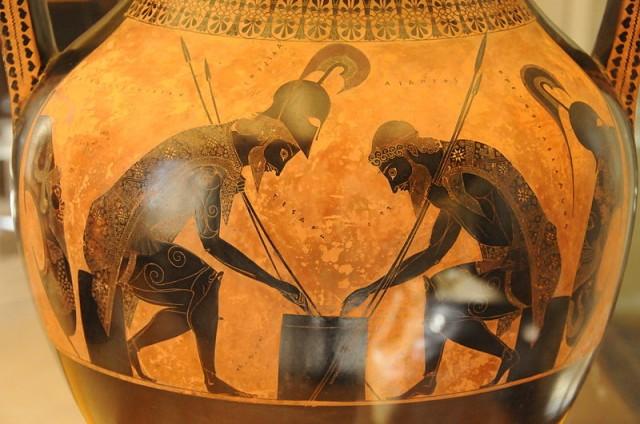 Aquiles y Ayax echando una partida