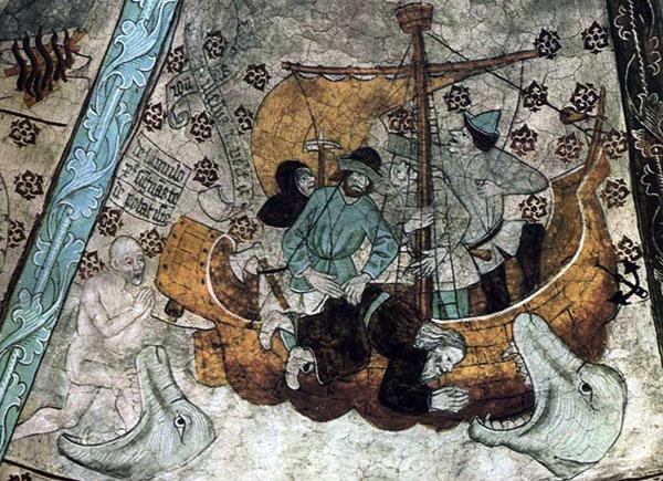 Albertus Pictor - Jonás y la Ballena - Harkeberga Church, Uppland, Suecia