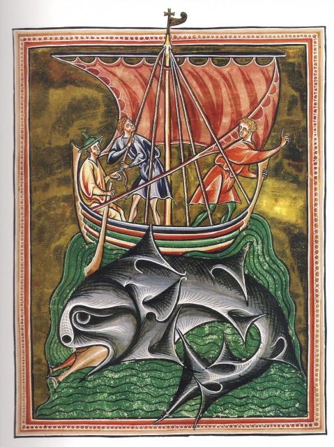 Marinos sobre el lomo de una ballena - The Ashmole Bestiary - Principios del s. XIII. Bod. Lib. Ashmole MS 1511, fol.86v