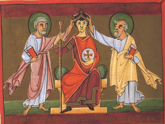 Oton III - miniatura del Apocalipsis de Bamberg - Siglo XI