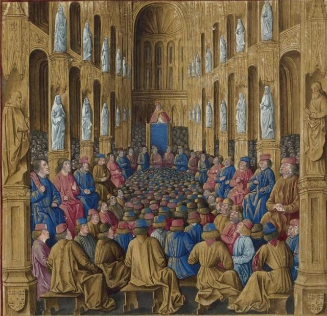 Predicación de Urbano II en Clermont - 1095 - Miniatura de 1474 - Passages d'outremer