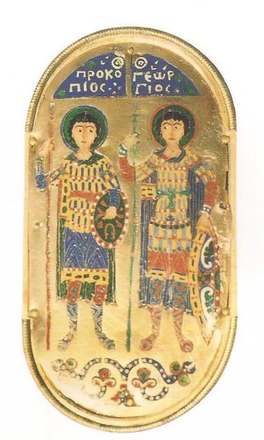 Panel de oro bizantino con los santos Procopio y Jorge representados como soldados. Siglo X